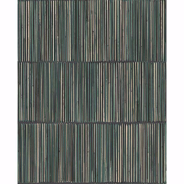 Picture of Aspen Dark Green Natural Stripe Wallpaper