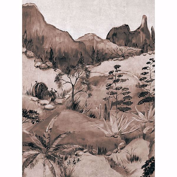 Picture of Scenic Savanna Sepia Wall Mural