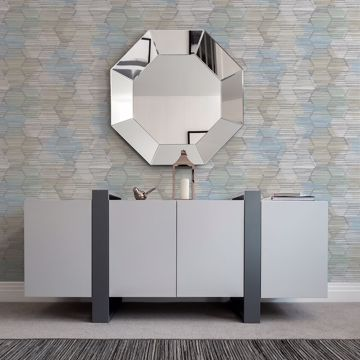 Picture of Jabari Light Blue Geometric Faux Grasscloth Wallpaper