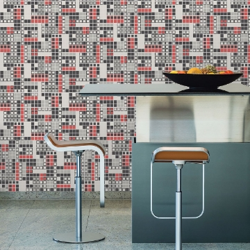 Picture of Bantry Red Geometric Wallpaper