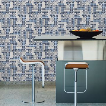Picture of Bantry Blue Geometric Wallpaper