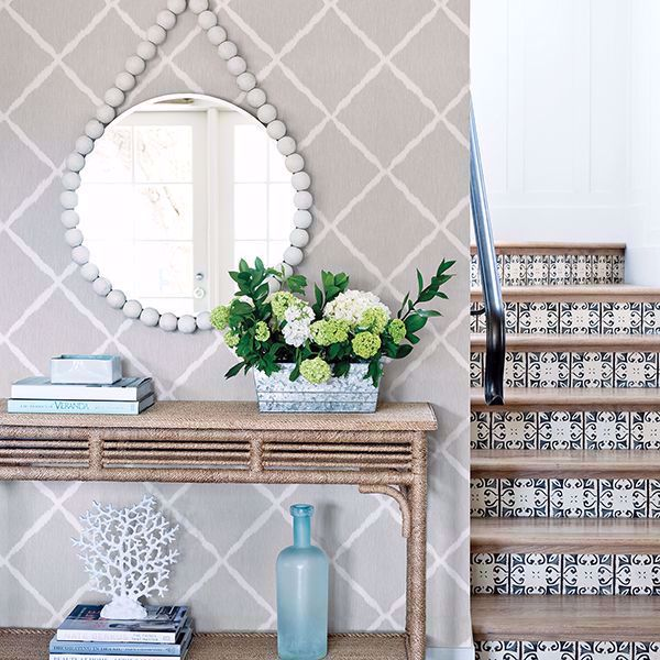 Picture of Hanna Grey Ikat Wallpaper