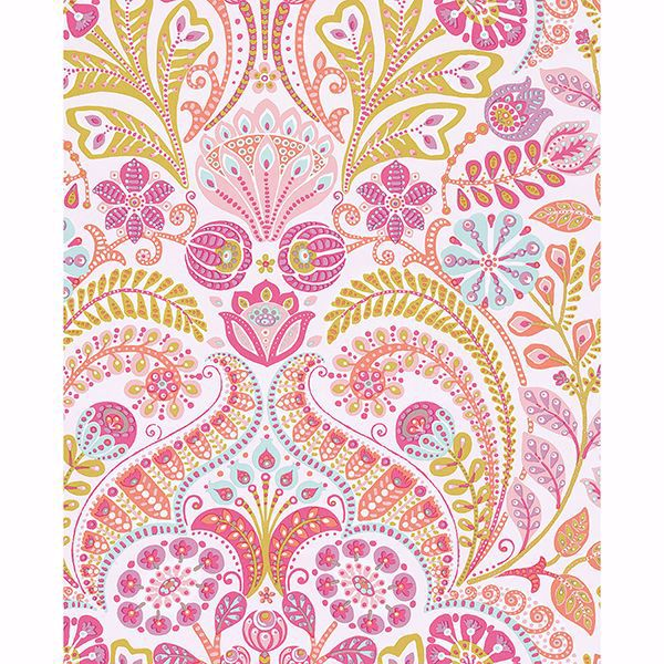 Picture of Emelie Pink Damask Wallpaper