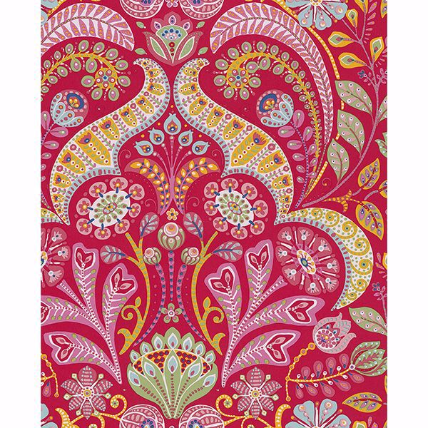 Picture of Emelie Red Damask Wallpaper