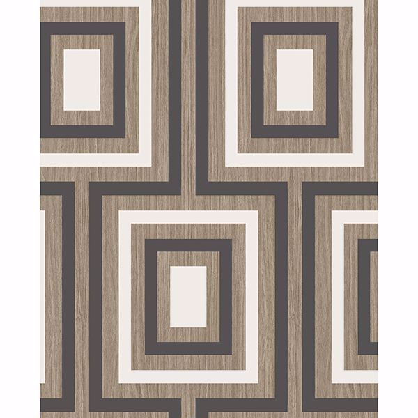 Picture of Loke Charcoal Wood Geometric Wallpaper