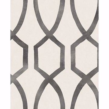 Picture of Stina Charcoal Trellis Wallpaper