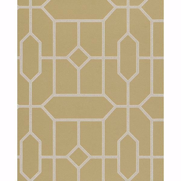 Picture of Johan Mustard Trellis Wallpaper