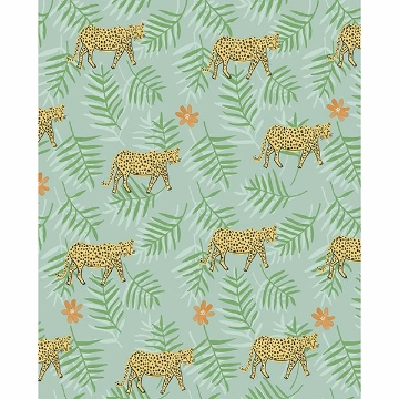 Picture of Exempel Green Cheetah Wallpaper