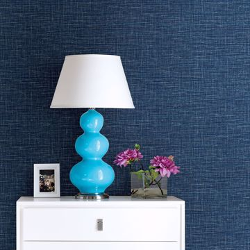 Picture of Exhale Dark Blue Faux Grasscloth Wallpaper