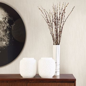 Picture of Chenille Off-White Faux Linen Wallpaper