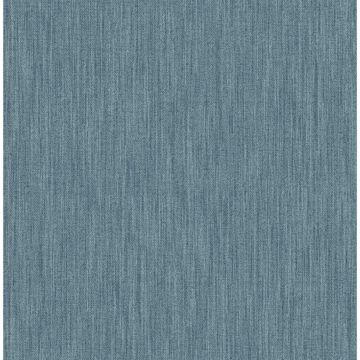 Picture of Chenille Blue Faux Linen Wallpaper