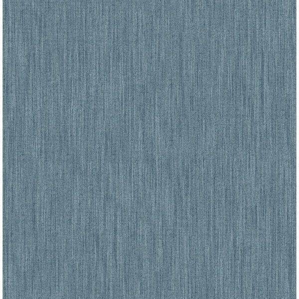 Picture of Chenille Blue Faux Linen Wallpaper