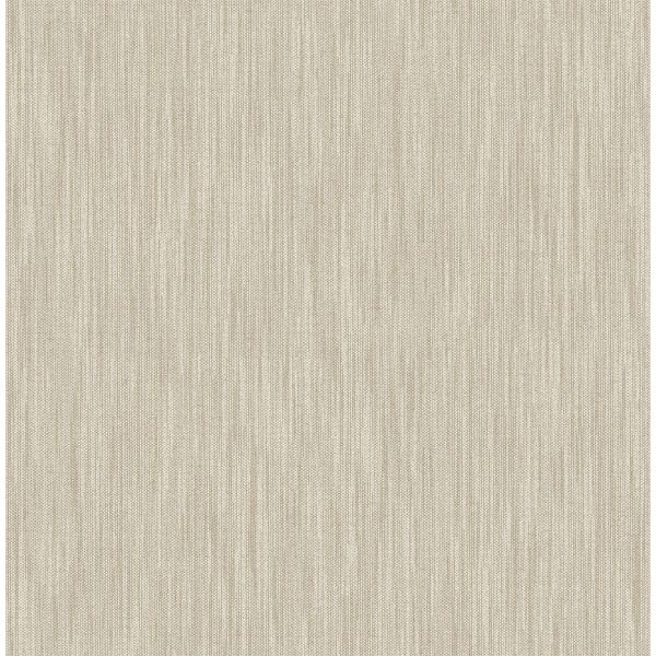 Picture of Chenille Light Brown Faux Linen Wallpaper