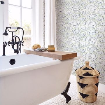 Picture of Bennett Blue Dotted Scallop Wallpaper