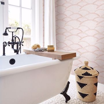 Picture of Bennett Pink Dotted Scallop Wallpaper