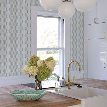 Picture of Burgen Teal Geometric Linen Wallpaper