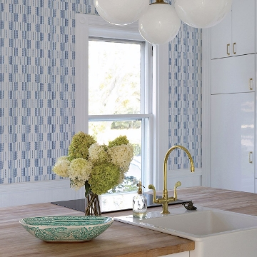 Picture of Burgen Blue Geometric Linen Wallpaper