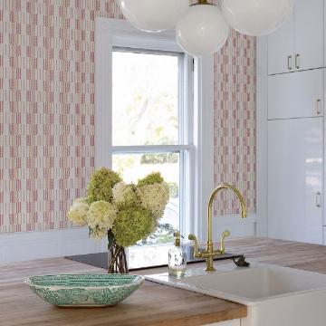 Picture of Burgen Orange Geometric Linen Wallpaper