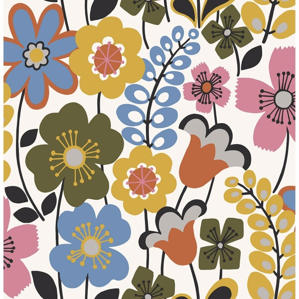 Picture of Piper Multicolor Floral Wallpaper