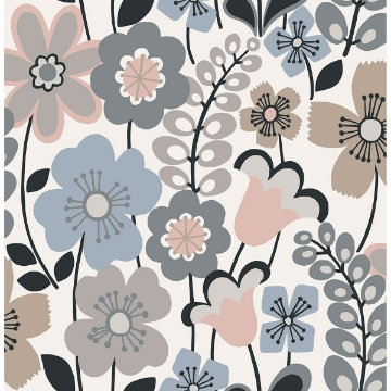 Picture of Piper Light Blue Floral Wallpaper