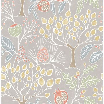 Picture of Shiloh Light Grey Botanical Wallpaper
