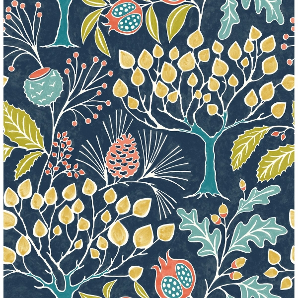 Picture of Shiloh Navy Botanical Wallpaper