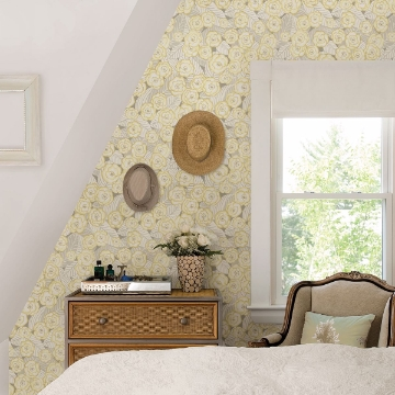 Picture of Emery Light Yellow Floral Wallpaper