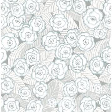 Picture of Emery Light Blue Floral Wallpaper
