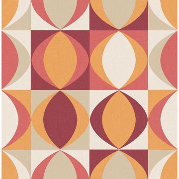 Picture of Archer Red Linen Geometric Wallpaper