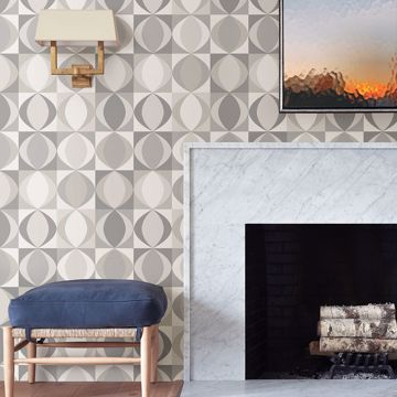Picture of Archer Grey Linen Geometric Wallpaper