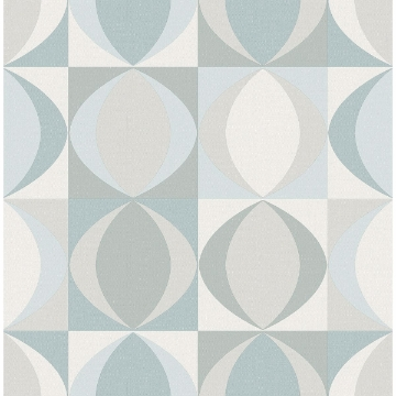 Picture of Archer Light Blue Linen Geometric Wallpaper