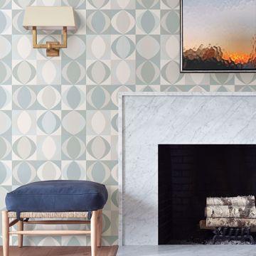 Picture of Archer Light Blue Linen Geometric Wallpaper
