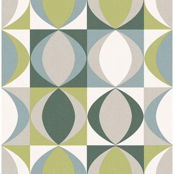 Picture of Archer Green Linen Geometric Wallpaper
