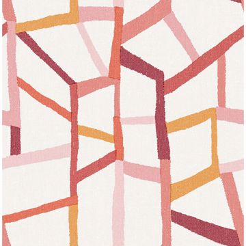 Picture of Tate Pink Geometric Linen Wallpaper