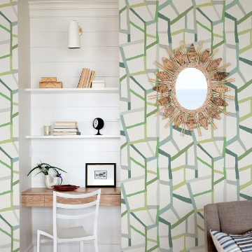 Picture of Tate Green Geometric Linen Wallpaper