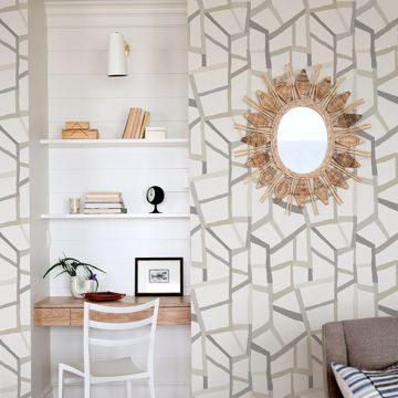 Picture of Tate Grey Geometric Linen Wallpaper