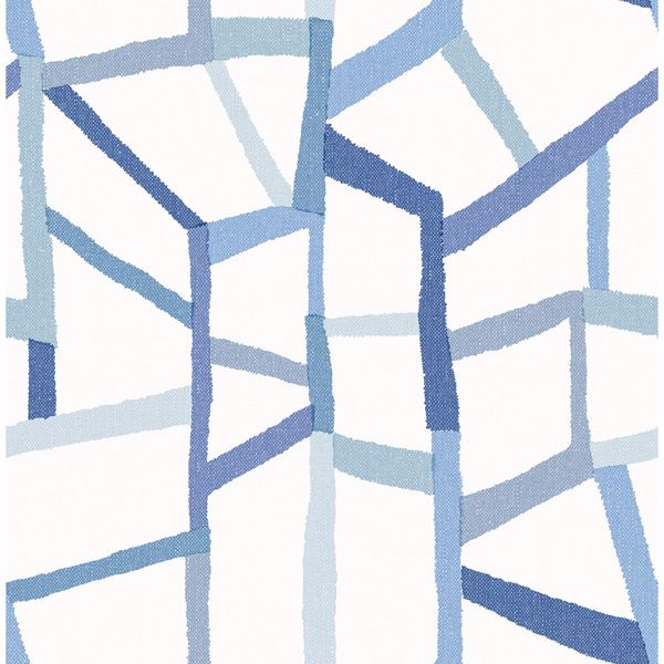 Picture of Tate Blue Geometric Linen Wallpaper