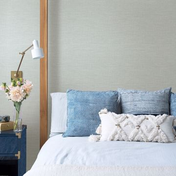 Picture of Exhale Light Blue Faux Grasscloth Wallpaper