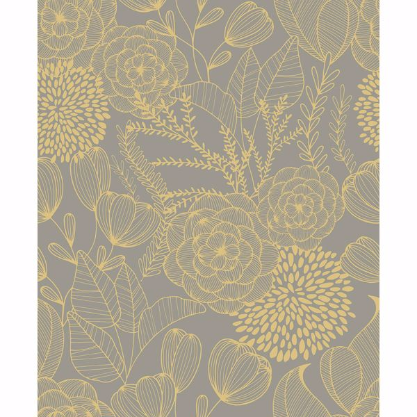 Picture of Alannah Taupe Botanical Wallpaper