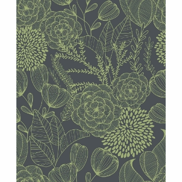 Picture of Alannah Green Botanical Wallpaper