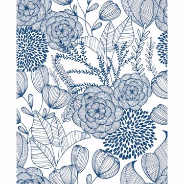 Picture of Alannah Navy Botanical Wallpaper