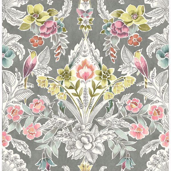 Picture of Vera Multicolor Floral Damask Wallpaper