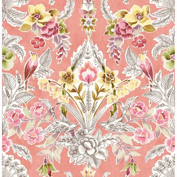 Picture of Vera Pink Floral Damask Wallpaper