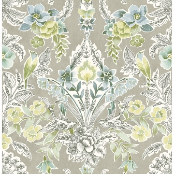 Picture of Vera Light Green Floral Damask Wallpaper
