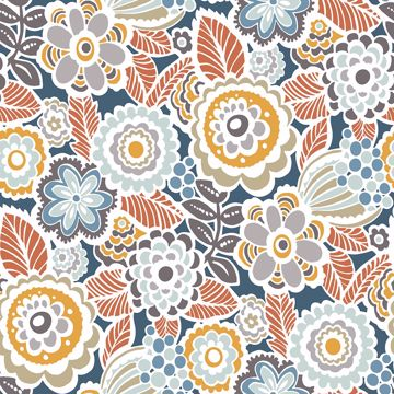 Picture of Lucy Navy Floral Wallpaper