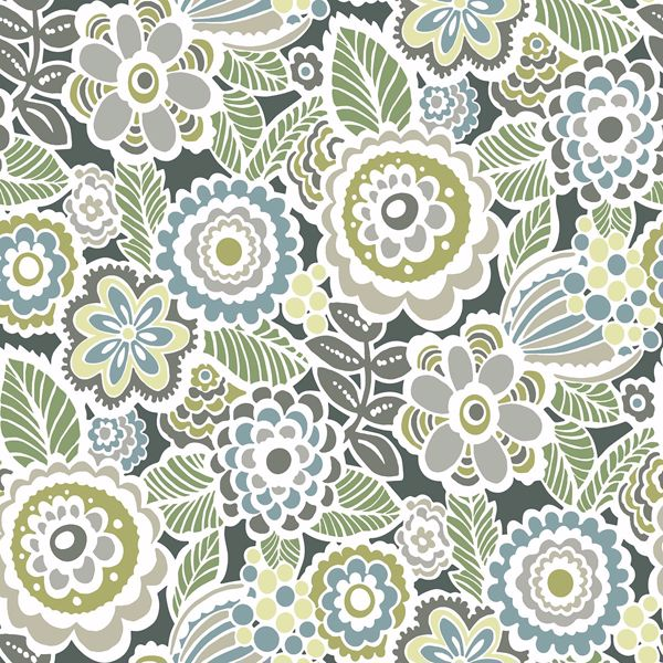 Picture of Lucy Green Floral Wallpaper