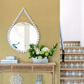 Picture of Jocelyn Yellow Faux Linen Wallpaper