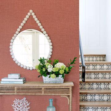 Picture of Jocelyn Pink Faux Linen Wallpaper
