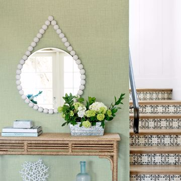 Picture of Jocelyn Light Green Faux Linen Wallpaper
