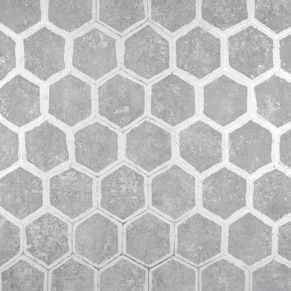 Picture of Starling Pewter Honeycomb Wallpaper